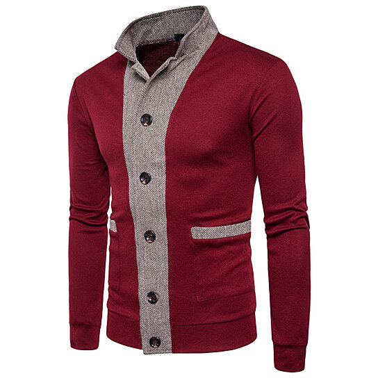 Men Casual Sweater Knitted Single Breasted Men Fashion 2 Color Striped Patchwork Clothes