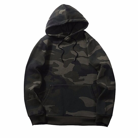 Camouflage Printed Mens Hoodie Sweatshirt Long Sleeve Sweatshirts Casual Hooded Pullover Fashion Men Clothing