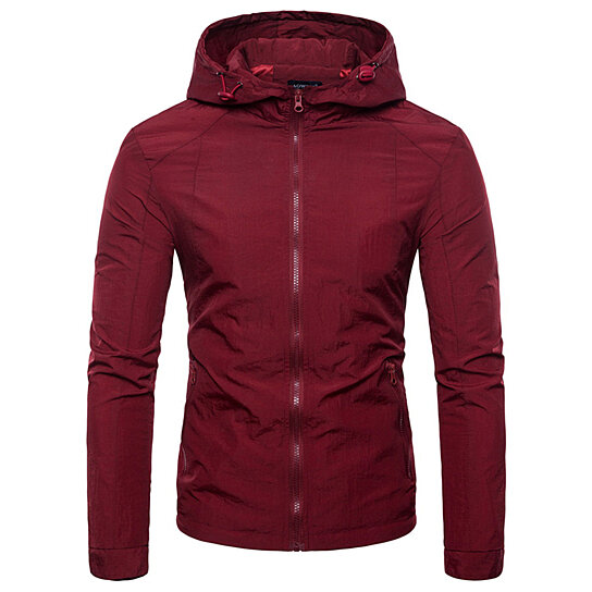 Hooded Men Jacket Solid Men Jackets with Zipper Fashion Brand Casual Loose Outwear