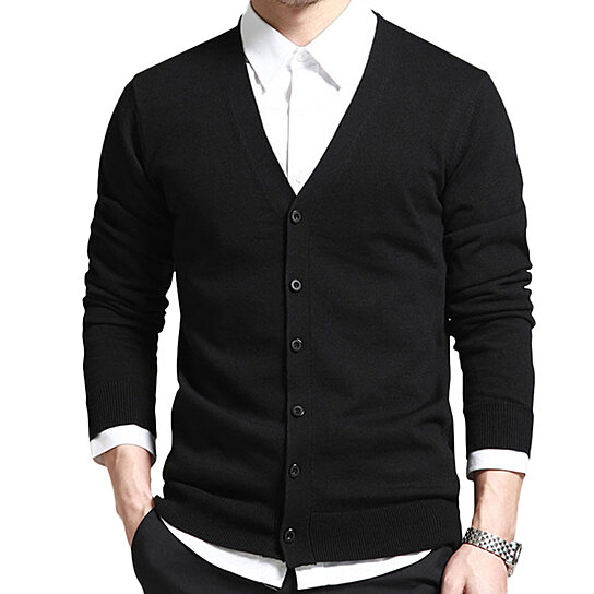 Casual Classic Men Cotton Sweater V-Neck Slim Fit Knitting Mens Sweaters Cardigan Men Clothing
