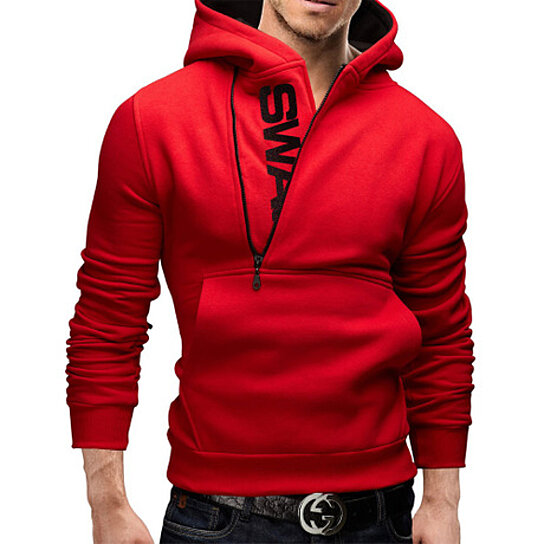 Letters Men Hoodies Sweatshirt Zipper Stitching Large Size Tops