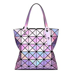 Women Handbags Laser Bright Tote Lady Geometry Diamond Lattice Sequins Fold Over Pearl Bag