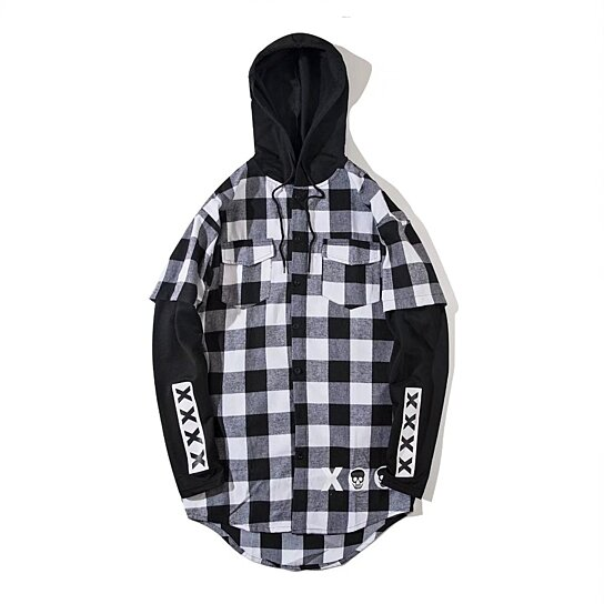 Hoodies Shirt Men Patchwork Pullover Plaid Long Sleeve Hooded Mens Hip Hop Printed Zipper Pocket Casual Shirts Streetwear