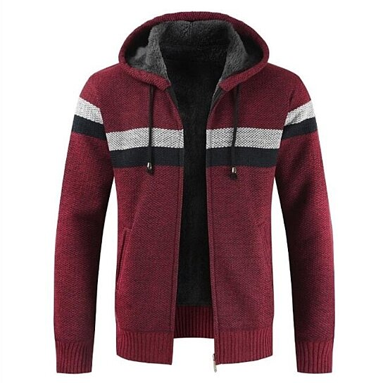 Men's Sweater Hooded Casual Zipper Plus Velvet Padded Stitching Sweater