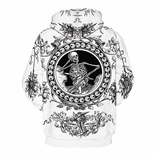 Men Sweatshirt Hoodies  Skull 3D Printing Sportwear Casual Outwear