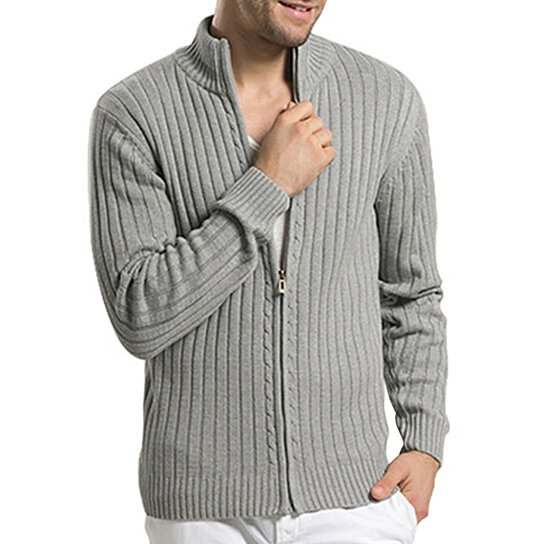 Men Cotton Sweaters Autumn Casual Stand-Neck Slim Strip Fit Knitting Mens Sweaters Cardigans Warm Men Clothing