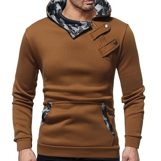 Men Hoodies Fashion Zipper Pockets Hooded SweatshirtTops