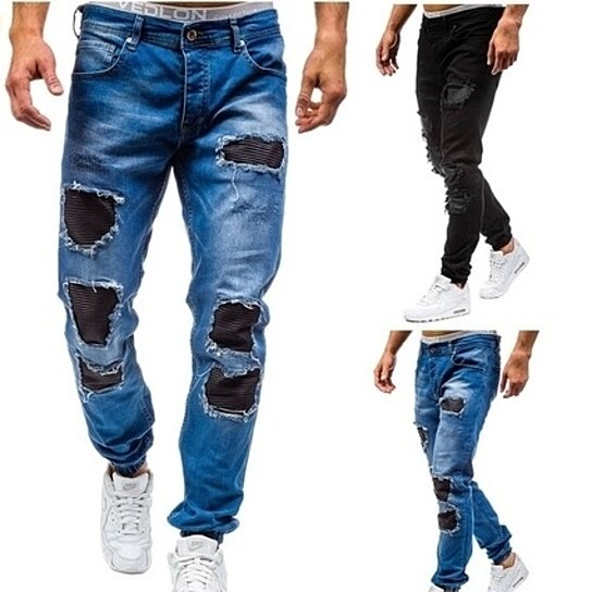 Men Jean Distressed Ripped Biker Moto Denim Pants Slim Fit Zipper