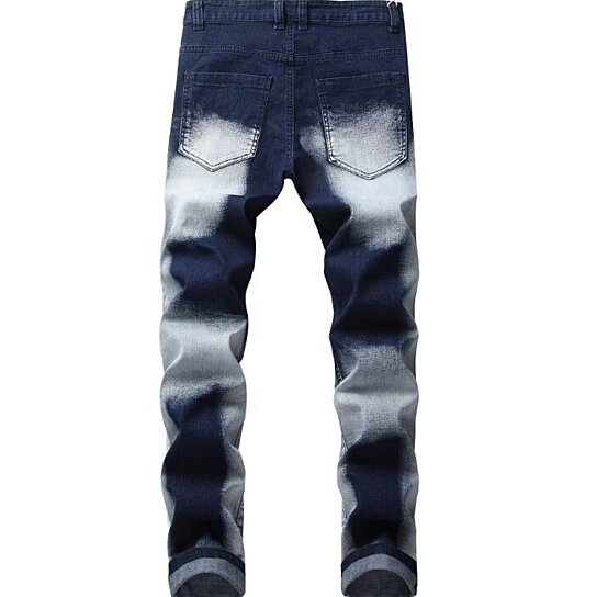 Men Jeans Distressed Ripped Biker Slim Jeans Stretched Moto Denim Pants