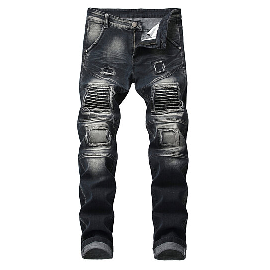 Men Jeans Casual Pants Ripped Slim Straight Fit Biker Jeans With Zipper Deco