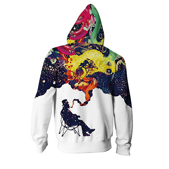 Men Sweatshirts Zipper Hoodies Space Starry Sky Printed Outwear Jacket