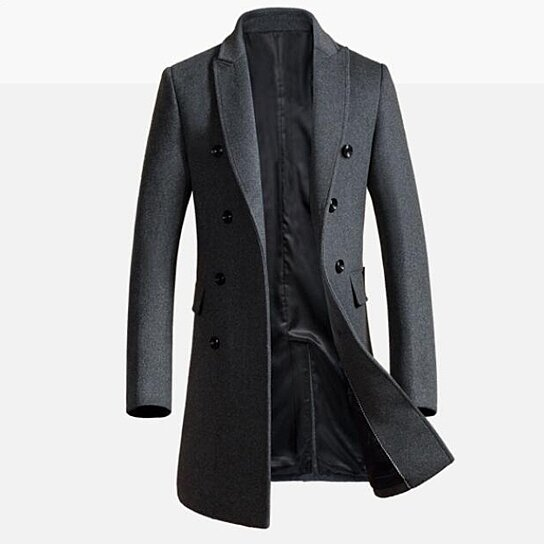 Men Trench Coat Winter Long Jacket Double Breasted Overcoat