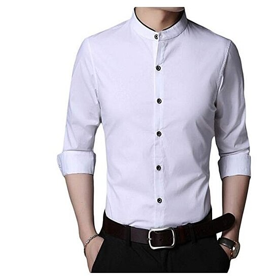 Men's Banded Collar Casual Shirt Long Sleeve Slim Fit Cotton