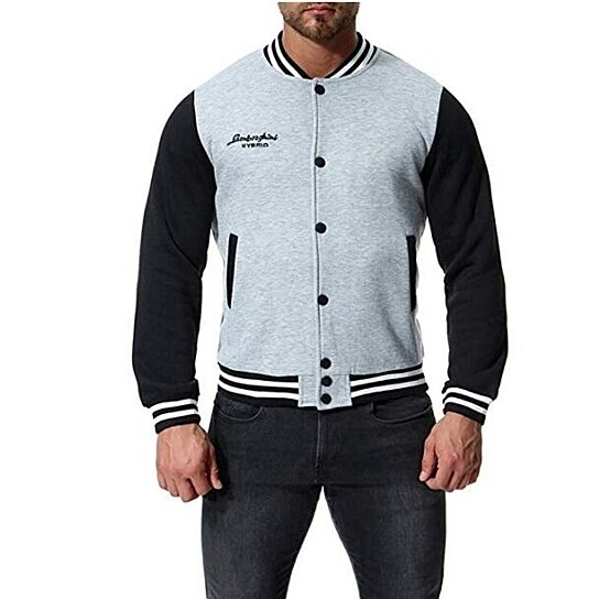 Men's Baseball Varsity Jacket Stand Collar Hit Color Warm add Villus Casual Sportswear Outdoors