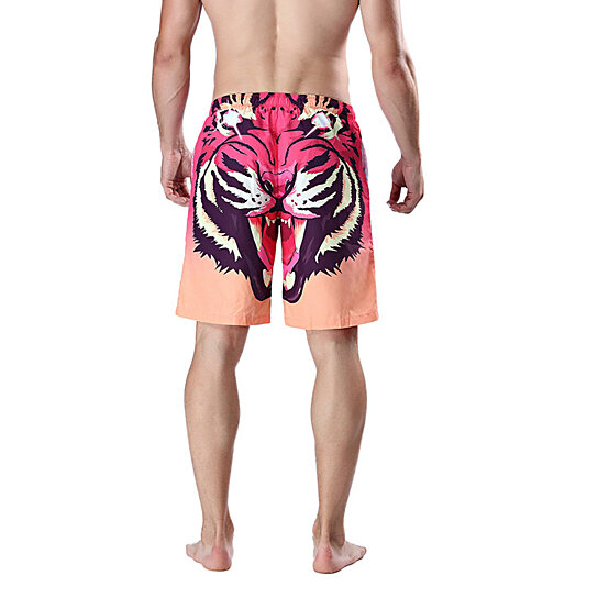 Men's Board Shorts Beach Shorts Quick Dry Surfing Shorts Swimsuit3D Tiger Head Printed Trunks