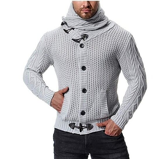 Men's Cardigan Horn Button Knitted Turtleneck Sweater Outwear Solid Color Coat