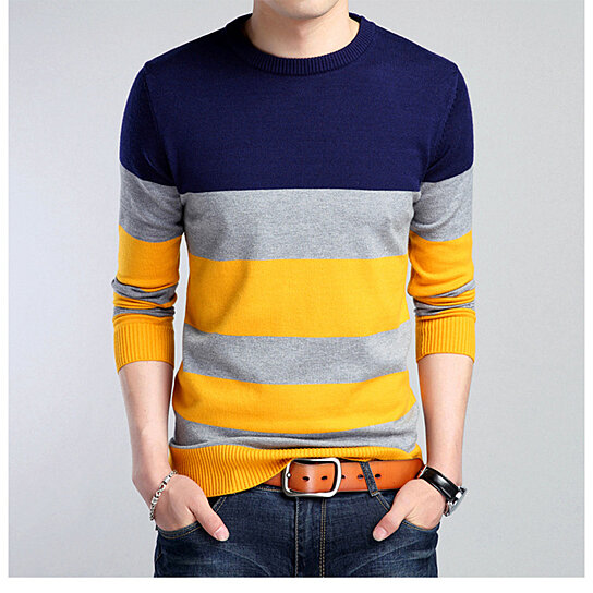 Men Sweater Casual Pullover Sweater Assorted Color Knitwear O-neck V-neck Multi-color