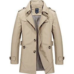 Men  Casual Jacket  Long Trench Coat Cotton Washed Jacket