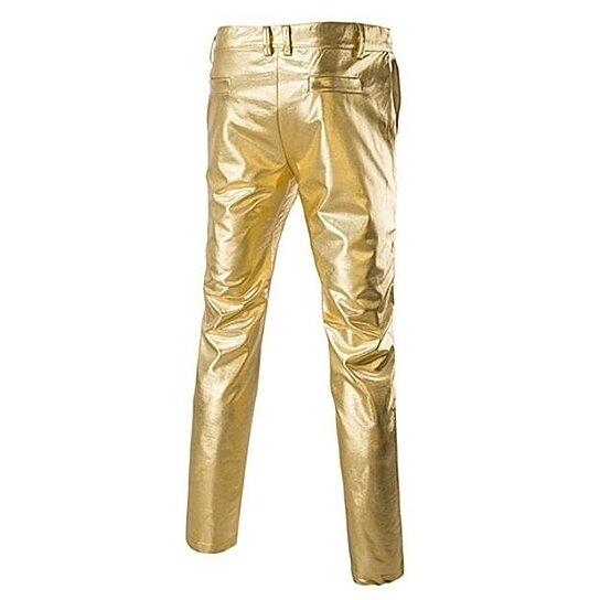 Mens Gold Pants Casual Night Club Metallic Moto Jeans Style Flat Front Suit Pants/Straight Leg Trousers