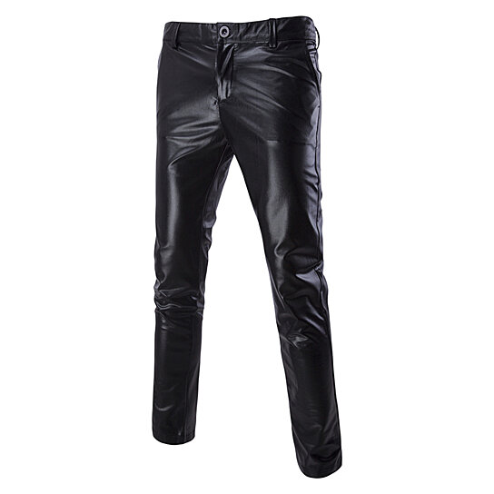 Men Pant Casual  Night Club Metallic Moto Flat Front Suit  Straight Leg Trousers
