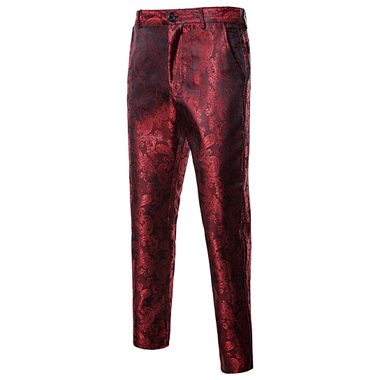 Mens Casual Pants Paisley Floral Pants Party Dress Suit Pants Straight Leg Trousers