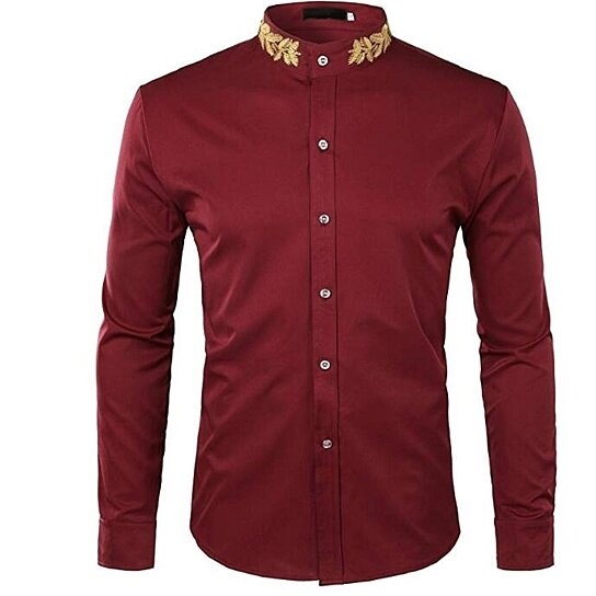 Mens Casual Shirts Long Sleeve Hipster Gold Embroidery Mandarin Collar Slim Fit Shirts