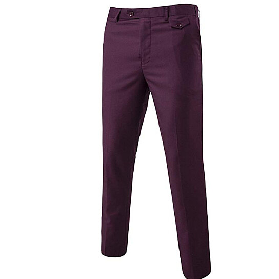 Men's Classic Slim-Fit Fit Stretch Wrinkle-Free Flat Front Slacks Slim Fit Dress Pants