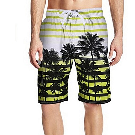 Men's Colorful Stripe Coconut Tree Beach Shorts Swim Trunks