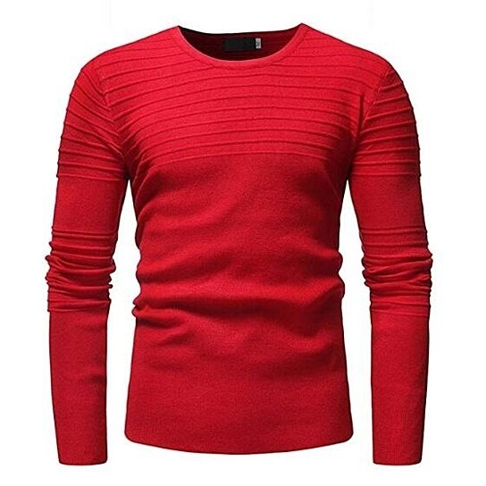 Men's Comfortable Sweaters Pullover Round Neck Slim Fit Ribbed Sweatershirt 3 Colors