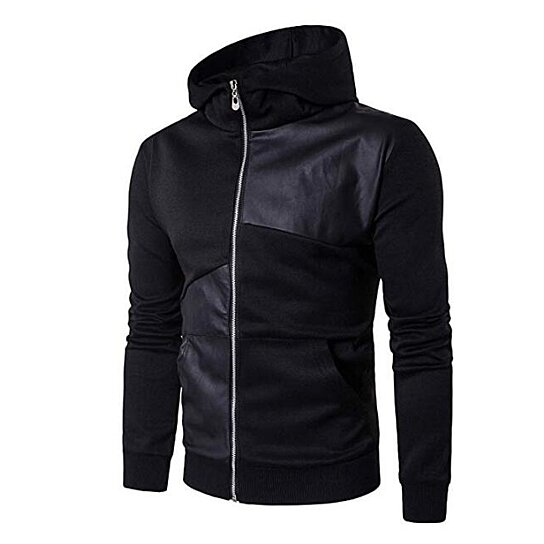 Men's Hoodie Fashion Stitching Leather Lightweight Long Sleeve Jacket SLIN Fit