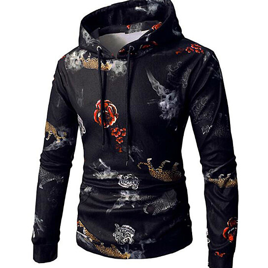 Men's Hoodies Fashion Novelty Sweatshirts Animal 3D Printed Hoodies Plus Size 3XL