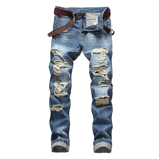 Mens Jeans Biker Moto Distressed Destroyed Fashion Skinny Fit Jeans