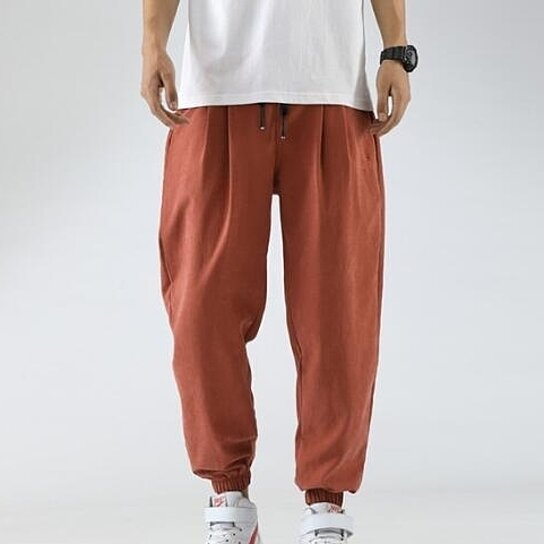 Mens Jogger Pants Active Elastic Drawstring Hipster Slim Fit