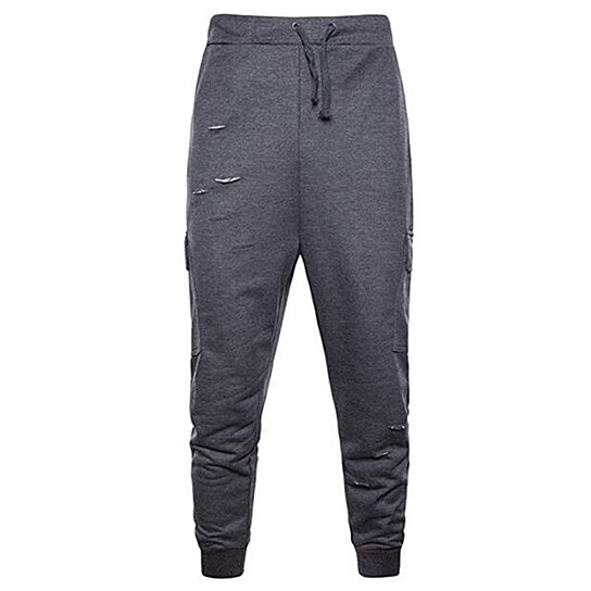 Men's Loose Sports Casual Pants Cotton Fashion Ripped Holes Jogger Sweatpants