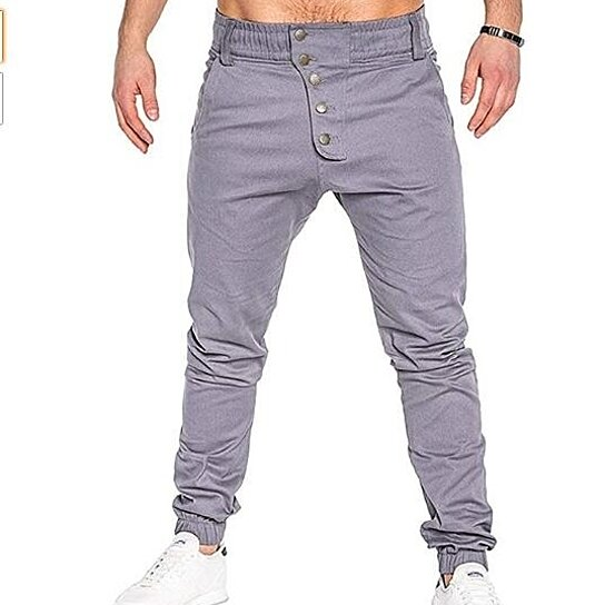 Men's Pants Casual Relaxed Fit Trousers Stretch Buttons with Elastic Waist