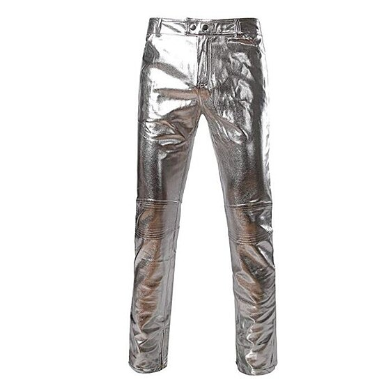 Mens PU Faux Leather Zipper Moto Jeans Style Metallic Pants/Straight Leg Trousers
