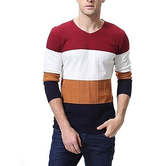 Mens Pullover Sweater Slim Comfortably Knitted Crewneck Long Sleeve Assorted Color