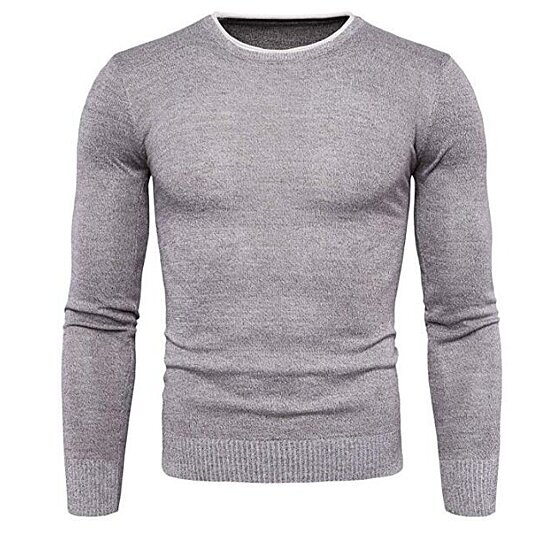 Mens Pullover V Neck Sweater Slim Comfortably Knitted Long Sleeve Solid Color