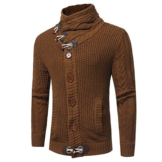 Men's Sweater Cardigan Horns Buckle Knit Casual Warm Sweater Coat