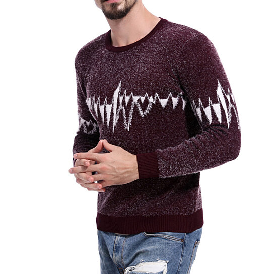 Men's Sweater Pullover Knitted Crewneck Long Sleeve Slim Fit Tops