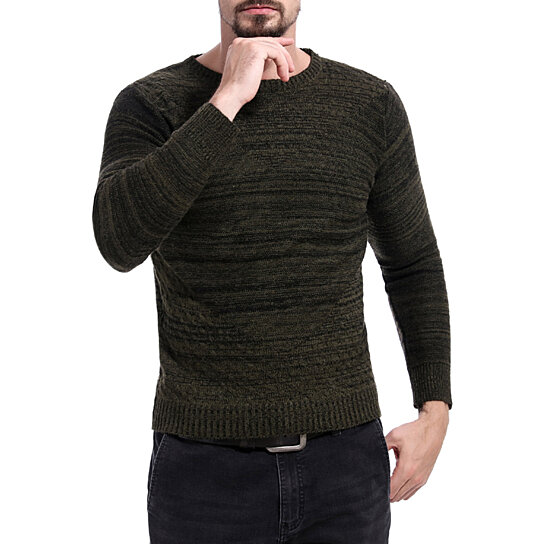 Men Sweaters Crew Neck Long Sleeve Slim Fit Knitted Pullover Casual Sweater