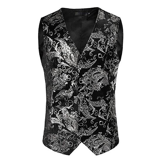 Mens Vest Hipster Gold Paisley Single Breasted Suit Vest/Tuxedo Waistcoat