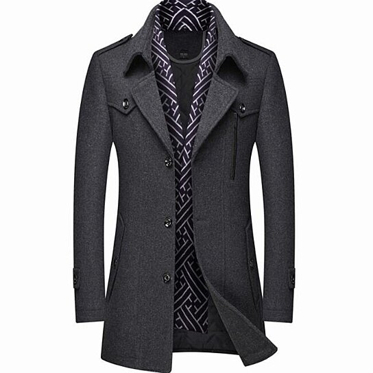 Men's Winter Mid Long Woolen Coat Double Breasted Warm Overcoat Stitching Color Trench Coat