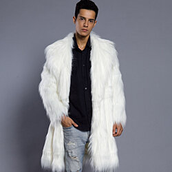Men  Coat  Imitation Fur  Wool Winter  Long Trench Outwear Coat