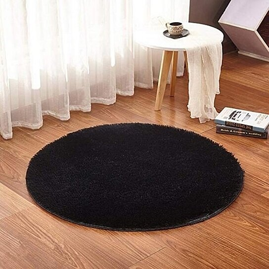 Plush Indoor Round Area Rugs Solid Color Living Room Bedroom Home Shaggy Carpet Multi-Size
