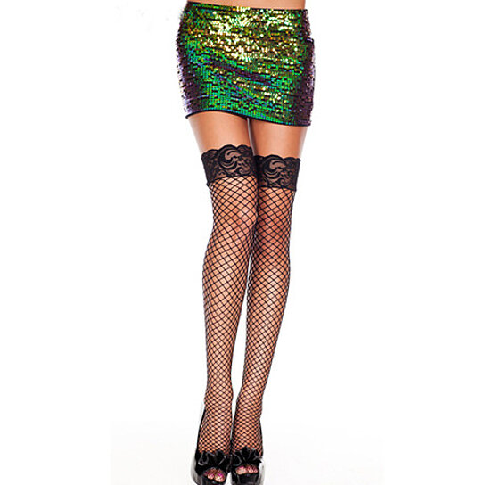 bec376ae5 Trending product! This item has been added to cart 19 times in the last 24  hours. Women Fishnet Thigh High Stockings with Silicone Lace Top