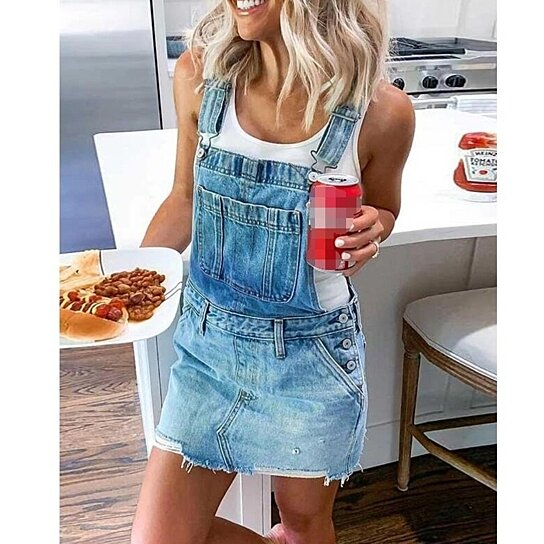 Womens Distressed Denim Shorts Bib Overalls Adjustable Strap Ripped Rompers Jeans