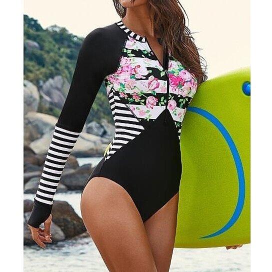 Womens Long Sleeve Zipper One Piece Rashguard Swimsuits Patchwork Fashion Print Tummy Control Swimwear Bathing Suit