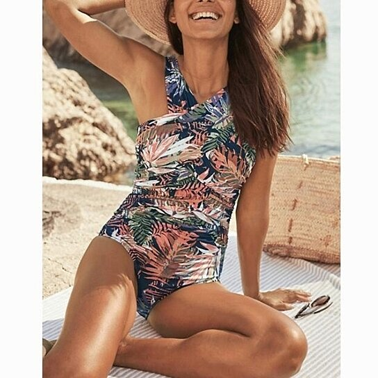 Womens One Piece Swimsuit Spaghetti Strap Tie Knot Cutout High Cut Swimsuit