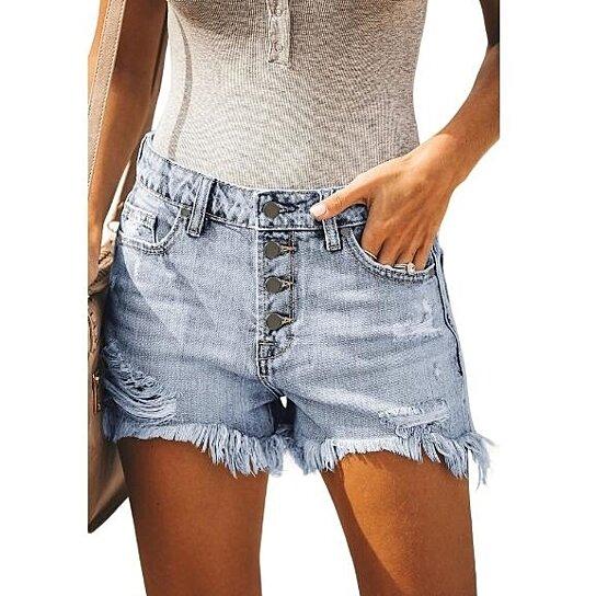 Women's Frayed Detailing Stretchable Denim Shorts